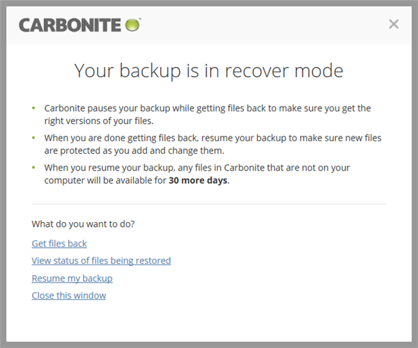 Carbonite application: Your Backup is Paused for safekeeping