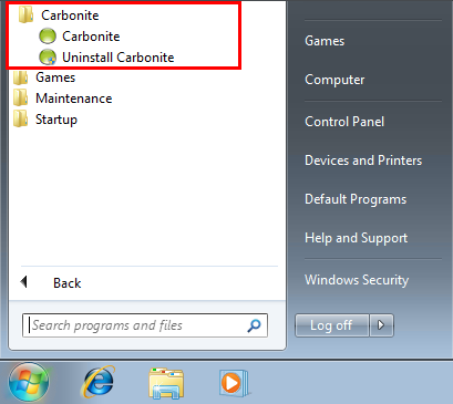 Windows 7 Start Menu: Carbonite