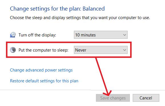 how to change sleep settings windows 10