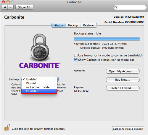 Carbonite Preference Pane: Backup Is