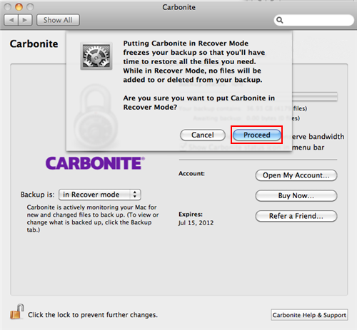 Carbonite Preference Pane: Recover Mode Pop-Up