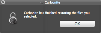 Restore complete pop-up